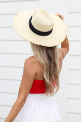 Santorini Wide Brim Frayed Sun Hat