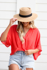 Tan - Straw Boater Hat