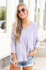cute soft knit tee in lilac at dress up