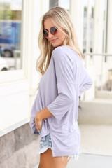 side view cute tee at dress up in lilac