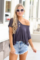 Charcoal - Ultra Soft Cuff Sleeve V-Neck Tee