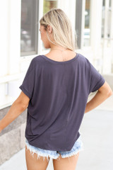 back view Ultra Soft Cuff Sleeve V-Neck Tee in charcoal