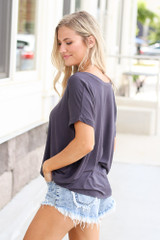 side view Ultra Soft Cuff Sleeve V-Neck Tee in charcoal