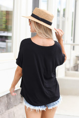 back view Ultra Soft Cuff Sleeve V-Neck Tee in black