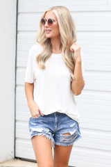 Ivory - Dress Up model wearing the Relaxed Fit Basic Tee