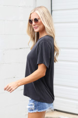 Relaxed Fit Basic Tee in Black Side View