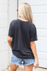 Relaxed Fit Basic Tee in Black Back View