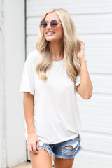Relaxed Fit Basic Tee in Ivory Front View