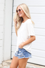 Relaxed Fit Basic Tee in Ivory Side View