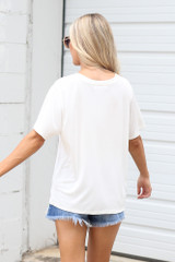 Relaxed Fit Basic Tee in Ivory Back View