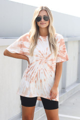 Peach - Model wearing the Tie-Dye Boyfriend Tee