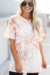 Peach - Dress Up model wearing the Tie-Dye Boyfriend Tee