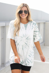 Tie-Dye Boyfriend Tee in Mint Front View