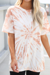 Close Up of the Tie-Dye Boyfriend Tee in Peach