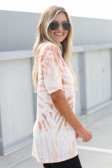 Tie-Dye Boyfriend Tee in Peach Side View