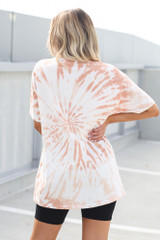 Tie-Dye Boyfriend Tee in Peach Back View