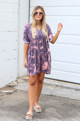 Model wearing the Tie-Dye Soft Knit Dress with platform espadrilles
