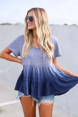 Navy - Dress Up model wearing the Ombre Babydoll Top