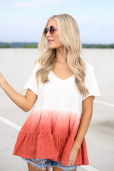 White - Model wearing the Ombre Babydoll Top with denim shorts