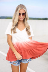 White - Dress Up model wearing the Ombre Babydoll Top with denim shorts