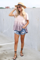 Model wearing the Ombre Babydoll Top in Lilac with lace up sandals
