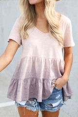 Close Up of the Ombre Babydoll Top in Lilac