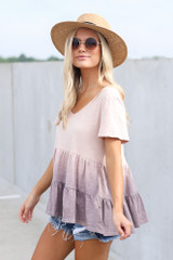 Ombre Babydoll Top in Lilac Side View