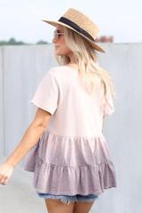 Ombre Babydoll Top in Lilac Back View