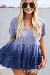 Close Up of the Ombre Babydoll Top in Navy