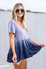 Ombre Babydoll Top in Navy Side View