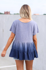 Ombre Babydoll Top in Navy Back View