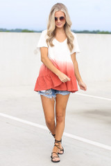 Model wearing the Ombre Babydoll Top in White with lace up sandals