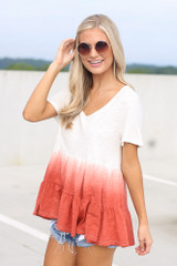 Ombre Babydoll Top in White Side View