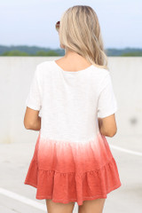 Ombre Babydoll Top in White Back View