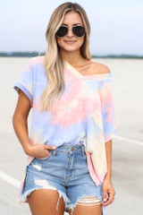 Model wearing the Oversized Tie-Dye Top