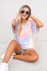 Dress Up model wearing the Oversized Tie-Dye Top