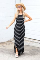 Model wearing the Striped Maxi Dress with platform espadrilles