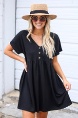 Black - Button Front Babydoll Dress from Dress Up