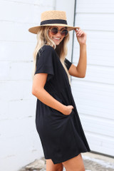 Button Front Babydoll Dress in Black Side View