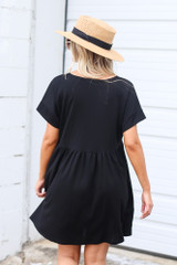 Button Front Babydoll Dress in Black Back View