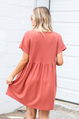 Button Front Babydoll Dress in Wine Back View