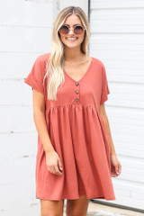 Button Front Babydoll Dress in Wine Front View