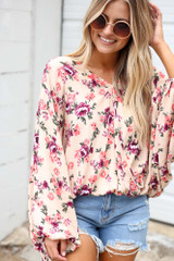 Ivory - Floral Oversized Blouse from Dress Up