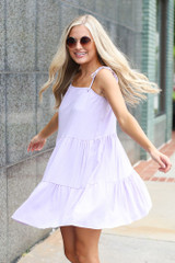 Dress Up model wearing the Tiered Babydoll Dress