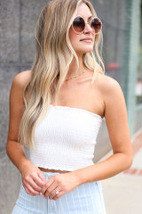 White - Model wearing the Smocked Bandeau with circle sunglasses