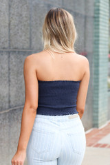 Smocked Bandeau in Navy Back View