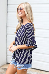 Ruffle Sleeve Tee Side View