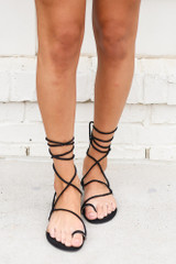 Model wearing the Lace-Up Sandals Front View
