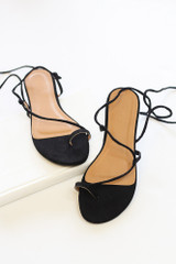 Flat Lay of the Lace-Up Sandals