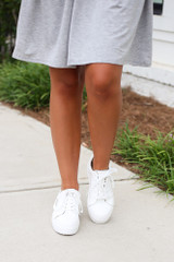 Model wearing the Platform Sneakers Front View